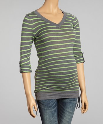 Charcoal & Lime Stripe Ruched Maternity V-Neck Sweater - Women