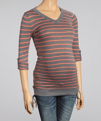 Charcoal & Coral Stripe Ruched Maternity V-Neck Sweater - Women