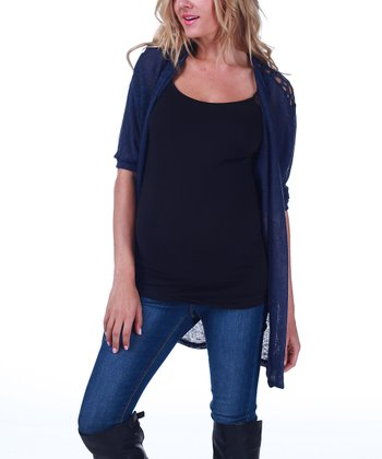 Navy Blue Crocheted Maternity Open Cardigan - Women