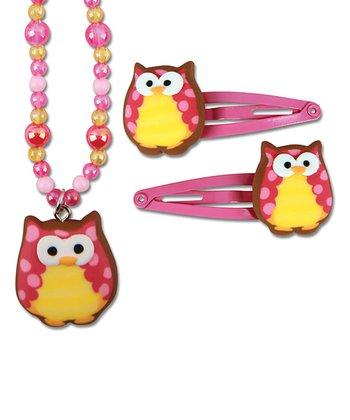 Pink Owl Pendant Necklace & Clip Set