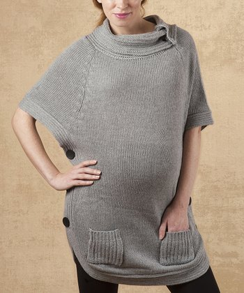 Charcoal Sophia Wool Maternity Cape-Sleeve Top