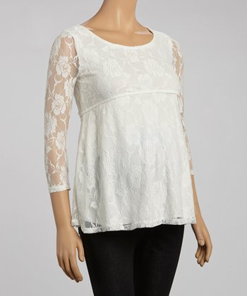 Mom & Co. Ivory Lace Maternity Scoop Neck Empire-Waist Top - Women