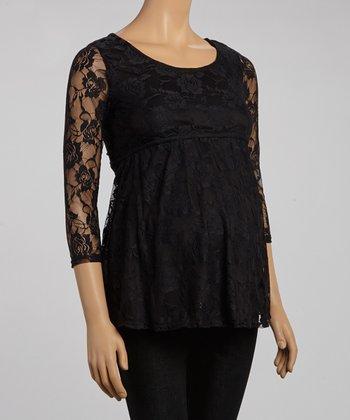Mom & Co. Black Lace Maternity Scoop Neck Empire-Waist Top - Women