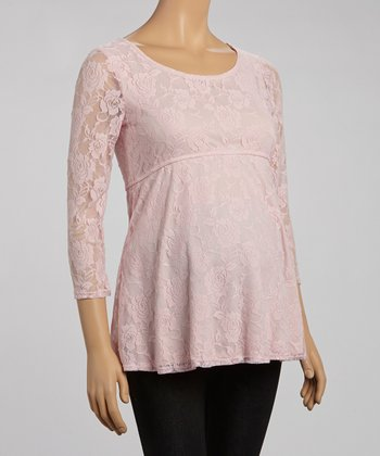 Mom & Co. Dusty Rose Lace Maternity Scoop Neck Empire-Waist Top - Women