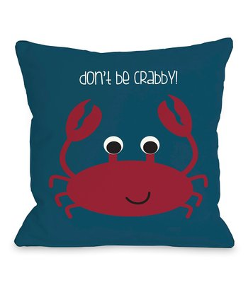 Blue & Red 'Don't Be Crabby' Throw Pillow