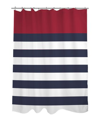 Red Nautical Stripe Shower Curtain