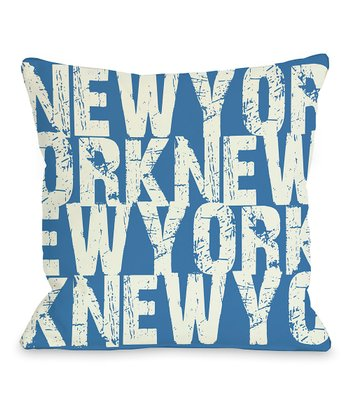 Blue & Gray 'New York' Throw Pillow