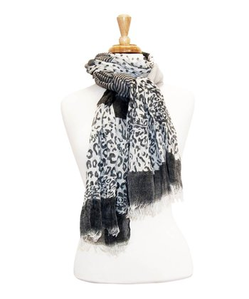 Light Gray Leopard Scarf
