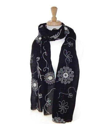 Black Embroidered Flower Scarf