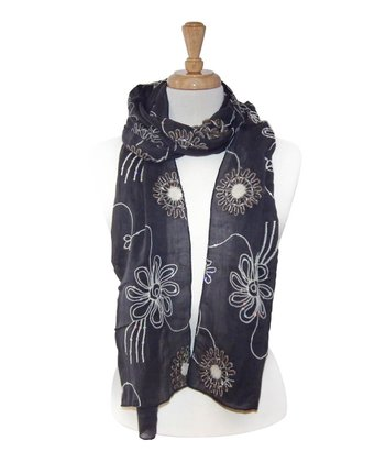 Gray Embroidered Flower Scarf