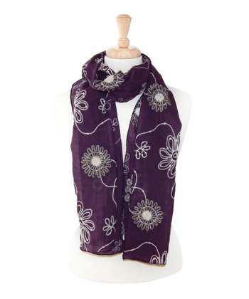 Purple Embroidered Flower Scarf