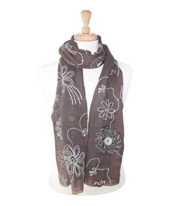 Taupe Embroidered Flower Scarf