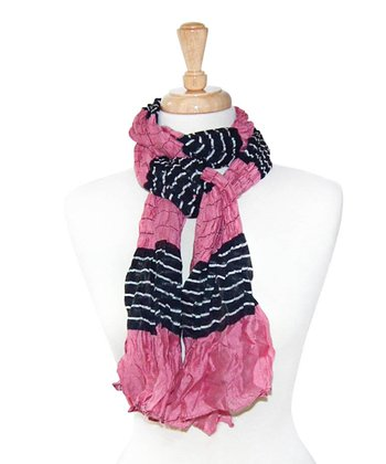 Pink & Black Stripe Scarf