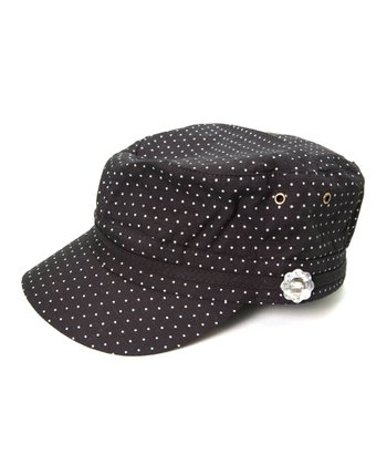Black Polka Dot Cadet Cap