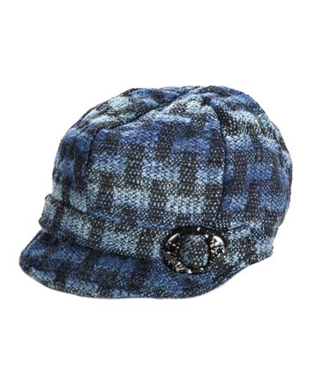 Blue Plaid Newsboy Cap