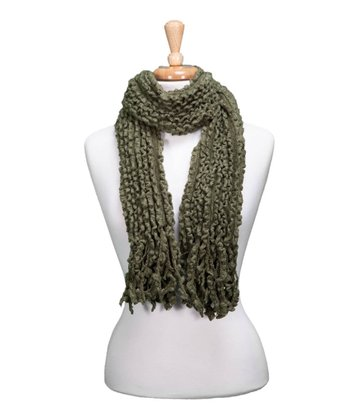 Green Knit Fringe Scarf