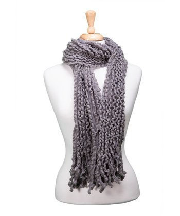 Gray Knit Fringe Scarf