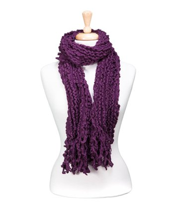 Purple Knit Fringe Scarf