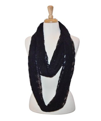 Black Loose-Knit Infinity Scarf