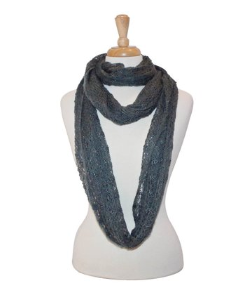 Gray Loose-Knit Infinity Scarf