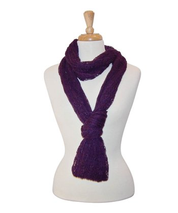 Purple Loose-Knit Infinity Scarf