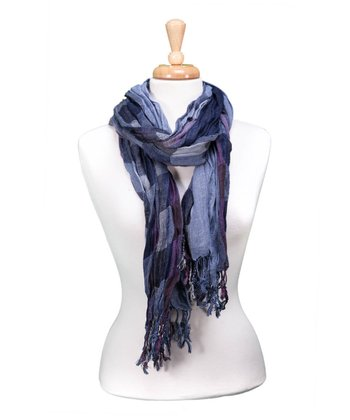 Blue Checkerboard Fringe Scarf