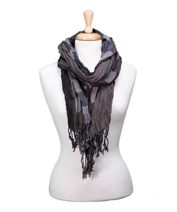 Black Checkerboard Fringe Scarf