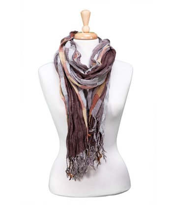 Brown Checkerboard Fringe Scarf