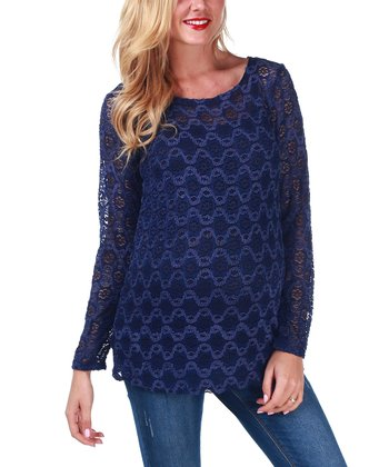 Blue Lace Maternity Tunic