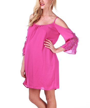 Berry Pink Crochet Maternity Cutout Dress - Women