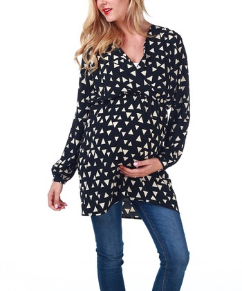 Black & Cream Triangle Maternity & Nursing Surplice Tunic - Women