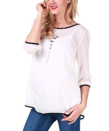 White Sheer Maternity Top & Necklace - Women