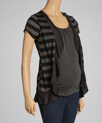 Charcoal & Black Ruffle Maternity Top - Women