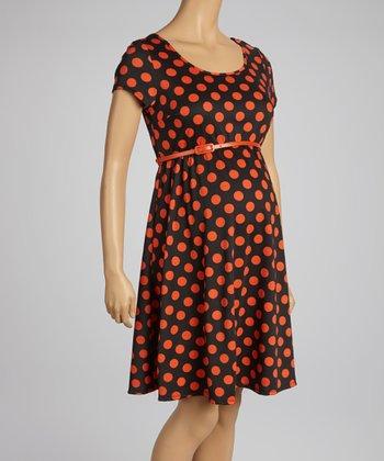 Mom & Co. Black & Coral Polka Dot Belted Maternity Dress - Women