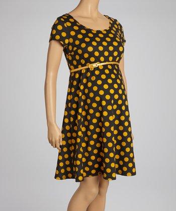 Mom & Co. Black & Mustard Polka Dot Belted Maternity Dress - Women