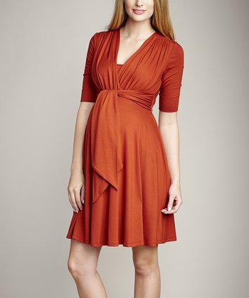 Rust Maternity & Nursing Surplice Dress