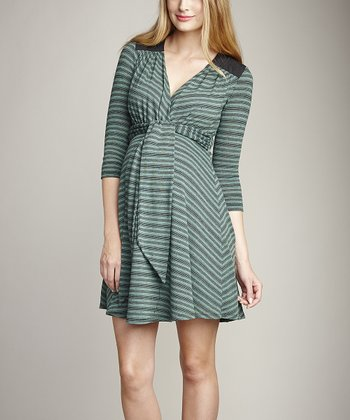 Mojito Quilted Yoke Maternity Surplice Dress