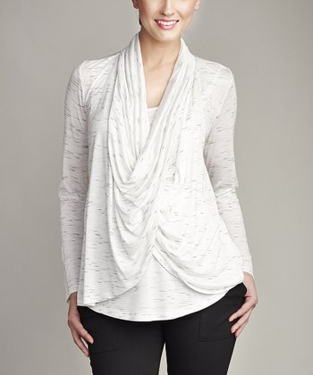 White Maternity & Nursing Drape Neck Top