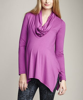 Magenta Maternity & Nursing Cowl Neck Top