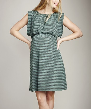 Mojito Stripe Maternity Cape-Sleeve Dress