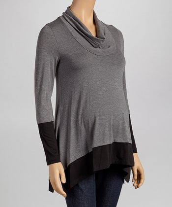 Charcoal & Black Color Block Maternity Cowl Neck Top