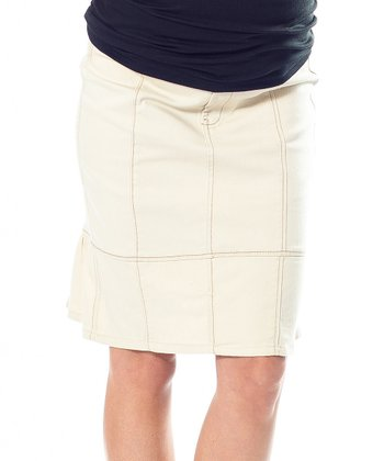 Khaki Twill Over-Belly Maternity Skirt