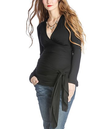 Black Bella Maternity Long-Sleeve Wrap Top