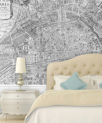 Black & White 1705 Paris Map Adhesive Print