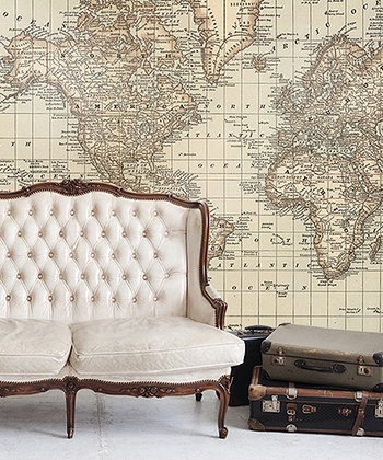 Vintage 1879 World Atlas Map Adhesive Print