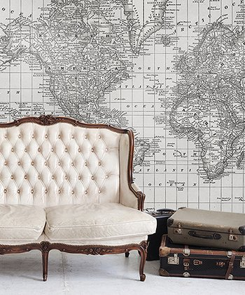 Black & White 1879 World Atlas Map Adhesive Print