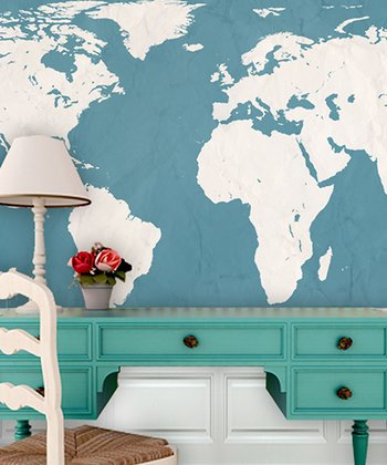 Teal World Atlas Map Adhesive Print