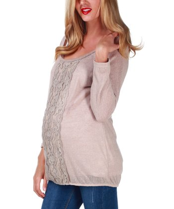 Beige Lace-Panel Maternity Top