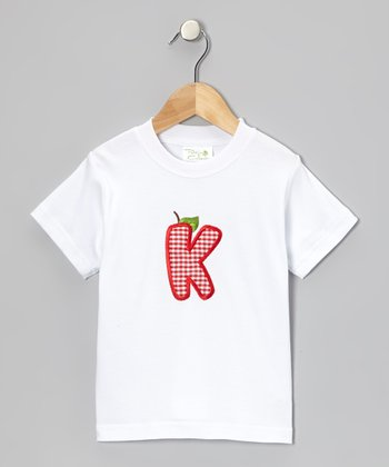 White & Red Apple Initial Tee - Infant, Toddler & Boys