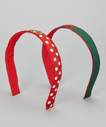 Red & Green Polka Dot Monogram Headband Set